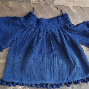 Micheal Stars Tassel Trim Smocked Top
